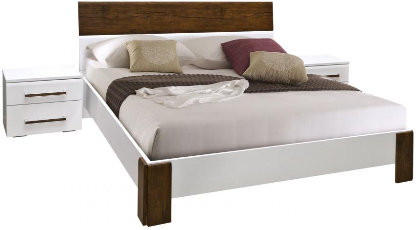 Кровать двойная «Ангелина» П461.06, Цвет: Белый глянец+тиковое дерево (krovat_dvoinaya_anngelina_p461_06.jpg)