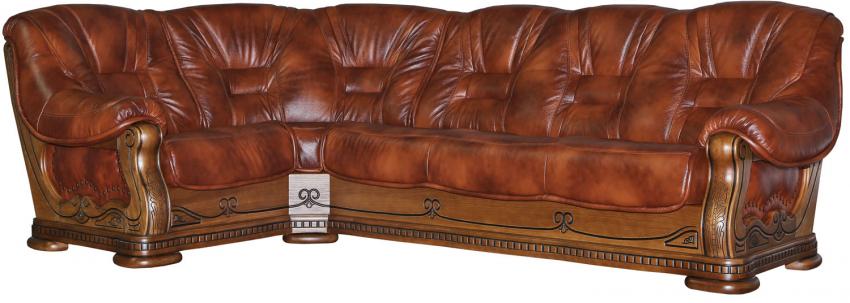 Угловой диван «Консул 23» вар. 3mR.90.1L:  кожа нат. 1060_120 группа