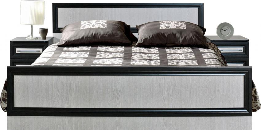 Кровать двойная «Ника» П024.06, Материал: основание кровати: каркас из ДСП, Цвет: Венге+дуб Беловежский (krovat_nika_p024_06.jpg)