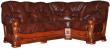 Угловой диван «Консул 23» вар. 3mL.90.1R:  кожа нат. + искуст_1068+4069(0)_115 группа