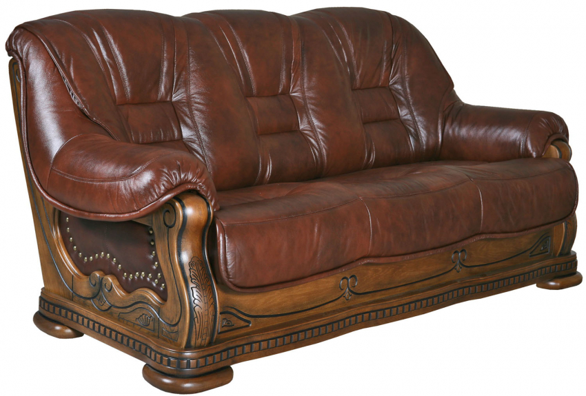 3-х местный диван «Кинг» 3м: кожа натур+ искусств._115 группа