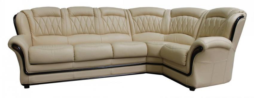 Угловой диван «Бакарди» вар. 3mL.90.1R: натуральная кожа, 140 группа