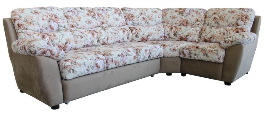 Угловой диван «Плаза» вар. 3ml.90.1R:  ткани: 947+570_20 группа.